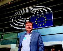 Joseph Cazier outside the European Parliament at the start of BeeWeek 2018.